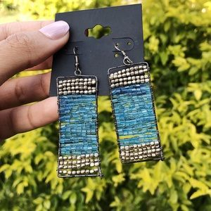 Blue And Silver Hand Beaded Earrings